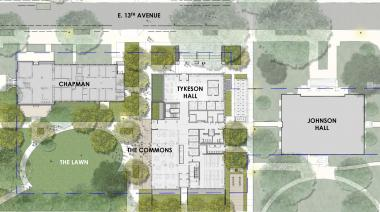 Campus map showing Tykeson Hall location